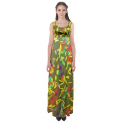 Colorful Brush Strokes Painting On A Green Background                                                    Empire Waist Maxi Dress