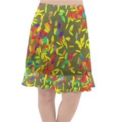 Colorful Brush Strokes Painting On A Green Background                                                       Fishtail Chiffon Skirt