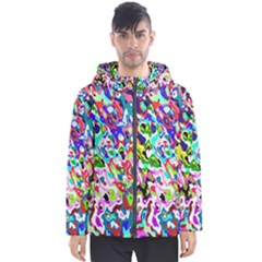 Colorful Paint Texture                                                    Men s Hooded Puffer Jacket by LalyLauraFLM