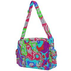 Colorful Distorted Shapes On A Grey Background                                                  Buckle Multifunction Bag by LalyLauraFLM