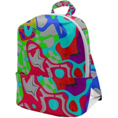 Colorful Distorted Shapes On A Grey Background                                                 Zip Up Backpack