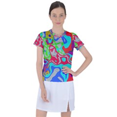 Colorful Distorted Shapes On A Grey Background                                                   Women s Mesh Sports Top