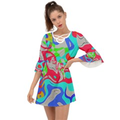 Colorful Distorted Shapes On A Grey Background                                                        Criss Cross Mini Dress