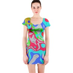 Colorful Distorted Shapes On A Grey Background                                                     Short Sleeve Bodycon Dress