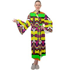 Colorful Shapes                                                Maxi Tie Front Velour Kimono