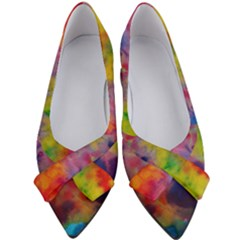 Colorful Watercolors Texture                                                Women s Bow Heels