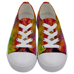 Colorful Watercolors Texture                                                   Kids  Low Top Canvas Sneakers