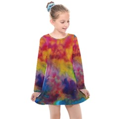 Colorful Watercolors Texture                                                   Kids  Long Sleeve Dress by LalyLauraFLM