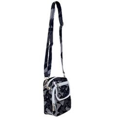 Trippy, Asymmetric Black And White, Paint Splash, Brown, Army Style Camo, Dotted Abstract Pattern Shoulder Strap Belt Bag by Casemiro