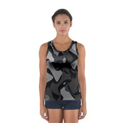Trippy, Asymmetric Black And White, Paint Splash, Brown, Army Style Camo, Dotted Abstract Pattern Sport Tank Top  by Casemiro