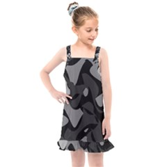 Trippy, Asymmetric Black And White, Paint Splash, Brown, Army Style Camo, Dotted Abstract Pattern Kids  Overall Dress by Casemiro