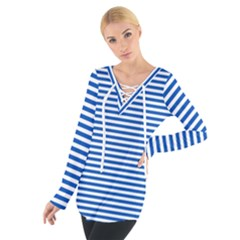 Classic Marine Stripes Pattern, Retro Stylised Striped Theme Tie Up Tee