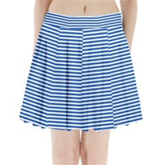 Classic Marine Stripes Pattern, Retro Stylised Striped Theme Pleated Mini Skirt by Casemiro