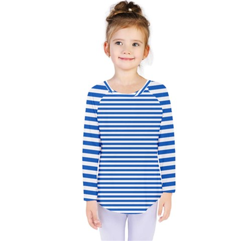 Classic Marine Stripes Pattern, Retro Stylised Striped Theme Kids  Long Sleeve Tee by Casemiro