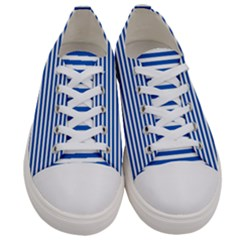 Classic Marine Stripes Pattern, Retro Stylised Striped Theme Women s Low Top Canvas Sneakers