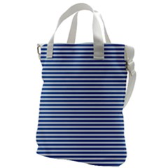 Classic Marine Stripes Pattern, Retro Stylised Striped Theme Canvas Messenger Bag by Casemiro