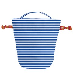 Classic Marine Stripes Pattern, Retro Stylised Striped Theme Drawstring Bucket Bag by Casemiro