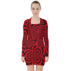 Spiral Abstraction Red, Abstract Curves Pattern, Mandala Style V-neck Bodycon Long Sleeve Dress by Casemiro