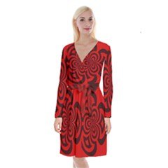 Spiral Abstraction Red, Abstract Curves Pattern, Mandala Style Long Sleeve Velvet Front Wrap Dress by Casemiro