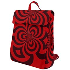 Spiral Abstraction Red, Abstract Curves Pattern, Mandala Style Flap Top Backpack by Casemiro