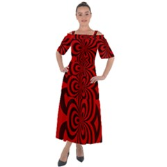 Spiral Abstraction Red, Abstract Curves Pattern, Mandala Style Shoulder Straps Boho Maxi Dress  by Casemiro