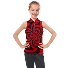 Spiral Abstraction Red, Abstract Curves Pattern, Mandala Style Kids  Sleeveless Polo Tee