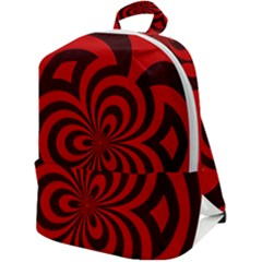 Spiral Abstraction Red, Abstract Curves Pattern, Mandala Style Zip Up Backpack