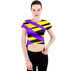 Abstract Triangles, Three Color Dotted Pattern, Purple, Yellow, Black In Saturated Colors Crew Neck Crop Top by Casemiro