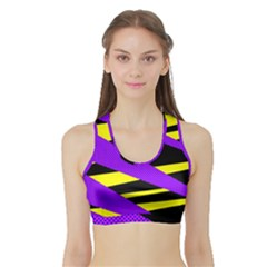 Abstract Triangles, Three Color Dotted Pattern, Purple, Yellow, Black In Saturated Colors Sports Bra With Border by Casemiro