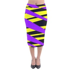 Abstract Triangles, Three Color Dotted Pattern, Purple, Yellow, Black In Saturated Colors Velvet Midi Pencil Skirt by Casemiro