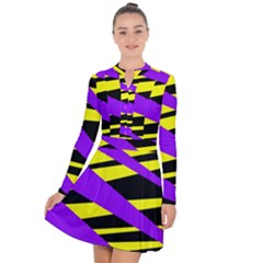 Abstract Triangles, Three Color Dotted Pattern, Purple, Yellow, Black In Saturated Colors Long Sleeve Panel Dress by Casemiro