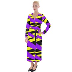Abstract Triangles, Three Color Dotted Pattern, Purple, Yellow, Black In Saturated Colors Velvet Maxi Wrap Dress