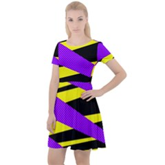 Abstract Triangles, Three Color Dotted Pattern, Purple, Yellow, Black In Saturated Colors Cap Sleeve Velour Dress  by Casemiro