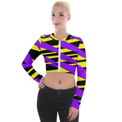 Abstract Triangles, Three Color Dotted Pattern, Purple, Yellow, Black In Saturated Colors Long Sleeve Cropped Velvet Jacket by Casemiro