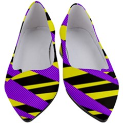 Abstract Triangles, Three Color Dotted Pattern, Purple, Yellow, Black In Saturated Colors Women s Block Heels