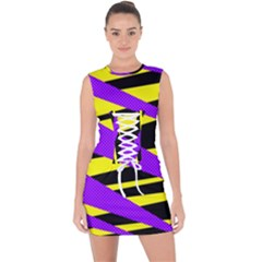 Abstract Triangles, Three Color Dotted Pattern, Purple, Yellow, Black In Saturated Colors Lace Up Front Bodycon Dress by Casemiro