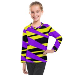 Abstract Triangles, Three Color Dotted Pattern, Purple, Yellow, Black In Saturated Colors Kids  Long Mesh Tee