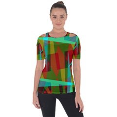 Rainbow Colors Palette Mix, Abstract Triangles, Asymmetric Pattern Shoulder Cut Out Short Sleeve Top