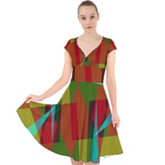 Rainbow Colors Palette Mix, Abstract Triangles, Asymmetric Pattern Cap Sleeve Front Wrap Midi Dress