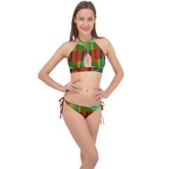 Rainbow Colors Palette Mix, Abstract Triangles, Asymmetric Pattern Cross Front Halter Bikini Set