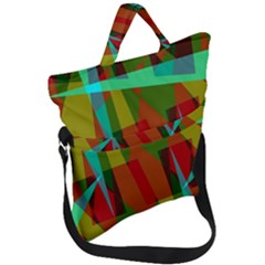 Rainbow Colors Palette Mix, Abstract Triangles, Asymmetric Pattern Fold Over Handle Tote Bag by Casemiro