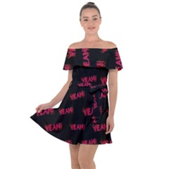 Yeah Word Motif Print Pattern Off Shoulder Velour Dress