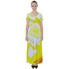 Golden Yellow Rose High Waist Short Sleeve Maxi Dress