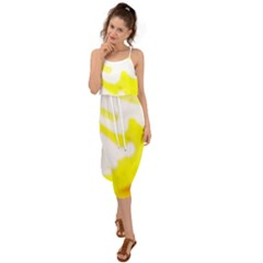 Golden Yellow Rose Waist Tie Cover Up Chiffon Dress