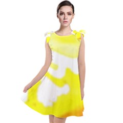 Golden Yellow Rose Tie Up Tunic Dress