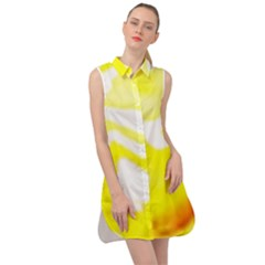 Golden Yellow Rose Sleeveless Shirt Dress by Janetaudreywilson