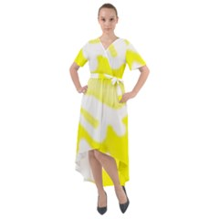 Golden Yellow Rose Front Wrap High Low Dress