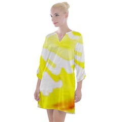 Golden Yellow Rose Open Neck Shift Dress