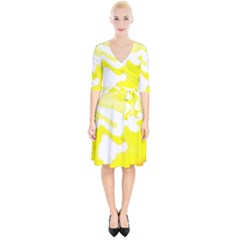Golden Yellow Rose Wrap Up Cocktail Dress