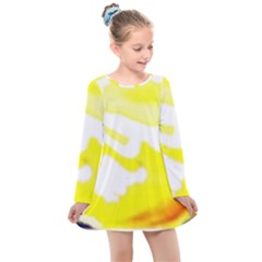 Golden Yellow Rose Kids  Long Sleeve Dress